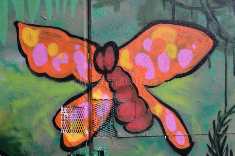 Фреска с бабочкой в парке Бернсайд-Бридж-Скейт в Портленде, ИЛИ стоковое изображение rf