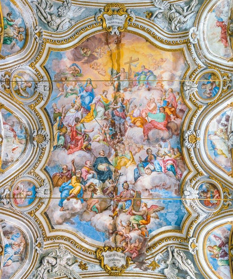 """Фреска """"Trionfo di Санта Caterina """"Филиппо Randazzo в церков Санта Caterina в Палермо Сицилия, южная Италия стоковые изображения rf"""