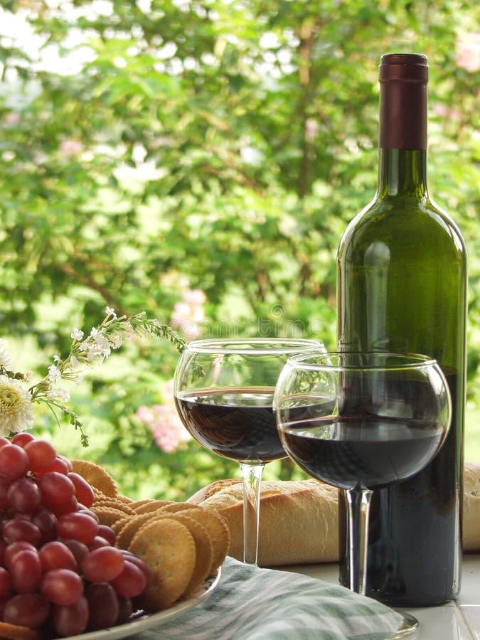 Фреска Al виноградин, вина и хлеба стоковые изображения rf