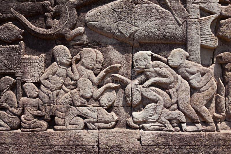 Фреска Angkor Wat/Angkor Thom Старые руины исторического стоковое изображение