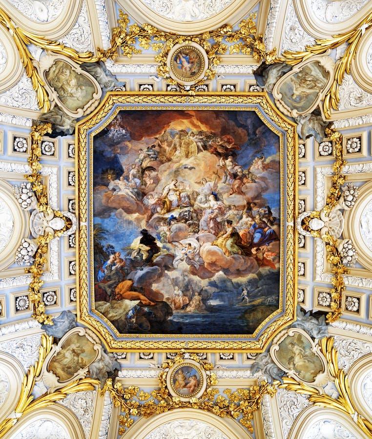Фреска Corrado Giaquinto «Испания оплачивает почтение к вероисповеданию и стоковые фотографии rf