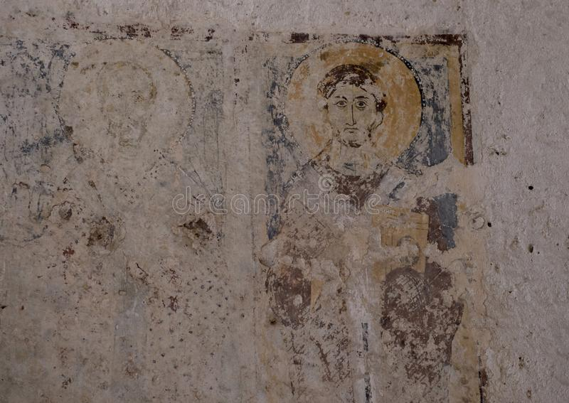 Фреска St Philip в ` Antico Ла Chiesa Di Лама D, ` Antico лама d Parco Rupestre стоковое фото