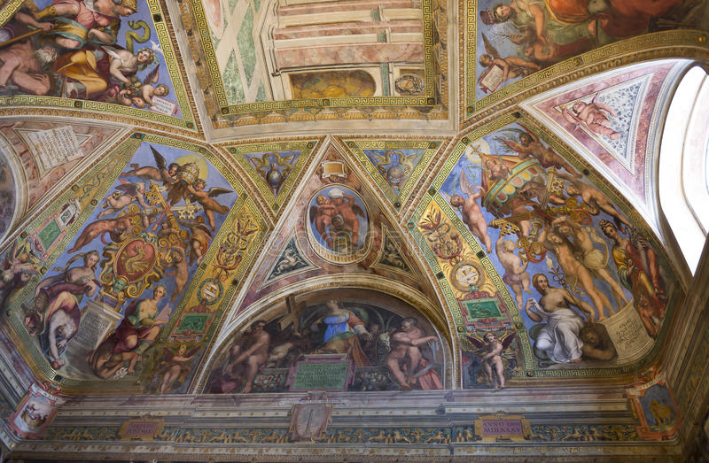 Фрески Ватикана Италия стоковые изображения