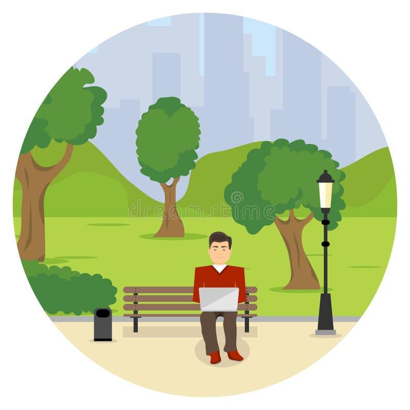 Фрилансер человека сидит на стенде с ноутбуком Фрилансер человека сидит на скамейке в парке и работе на ноутбуке бесплатная иллюстрация