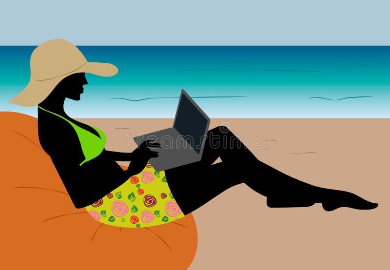 Фрилансер девушки работая на пляже сидя в салоне с компьтер-книжкой иллюстрация штока