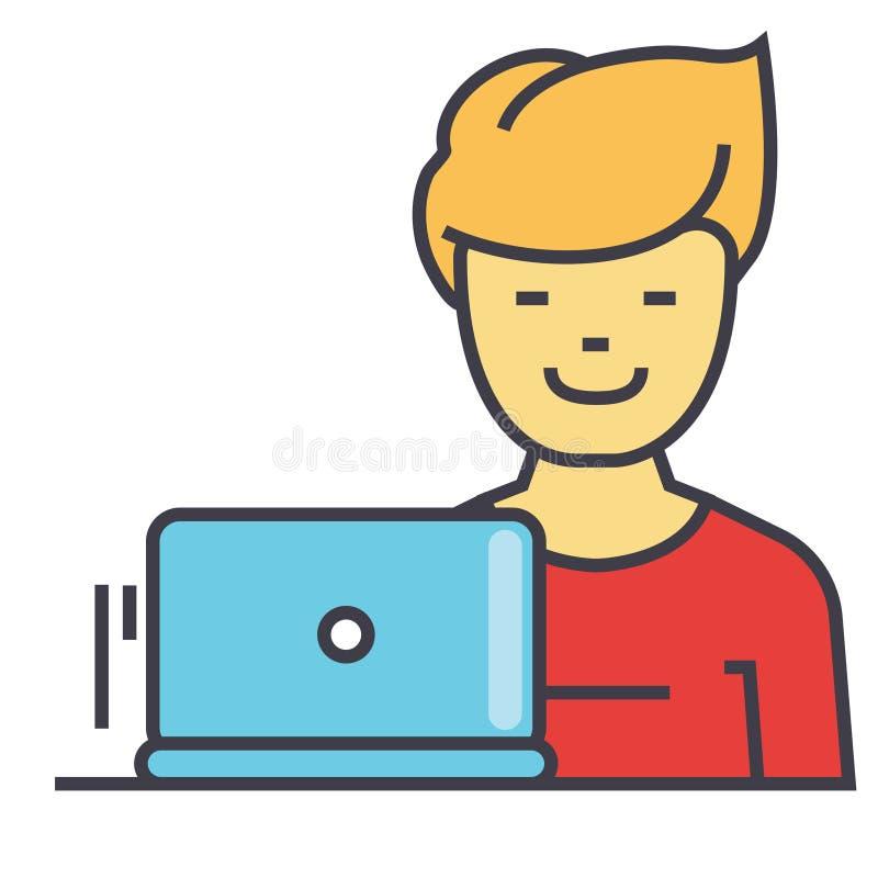 Фрилансер, работа на компьтер-книжке, программисте, концепции веб-разработчик бесплатная иллюстрация