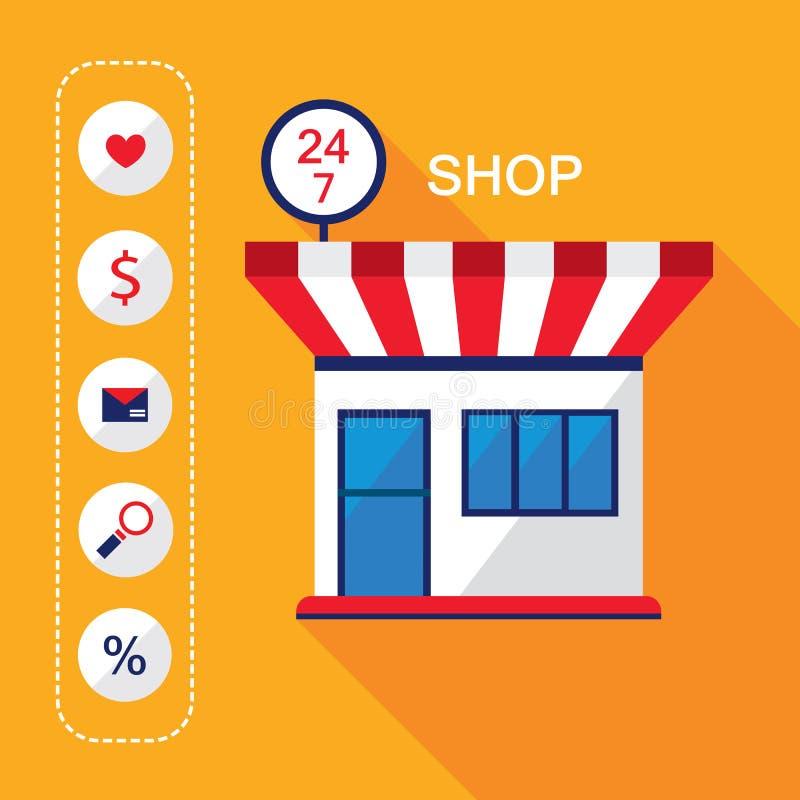 24 фронта 7 магазина Современный плоский фасад дизайна значков здания и покупок ночного магазина также вектор иллюстрации притяжк бесплатная иллюстрация