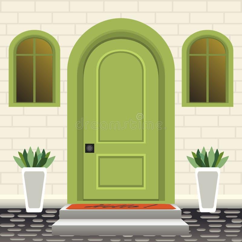 Фронт двери дома с порогом и шаги, лампа, цветки в баках, фасаде входа здания, внешнем входе с дизайном кирпичной стены бесплатная иллюстрация