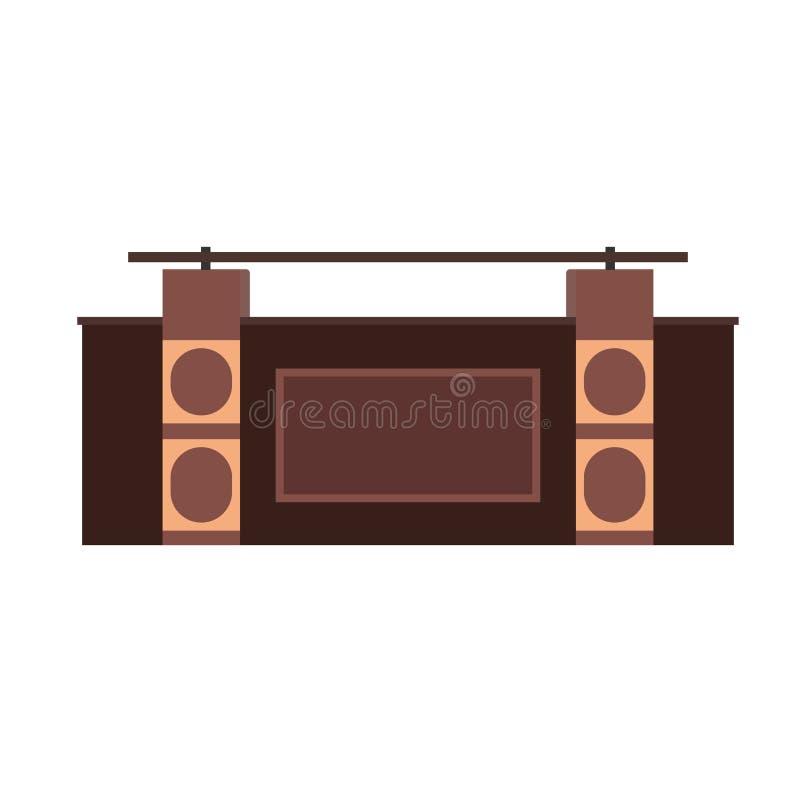Фронт значка вектора приемной Интерьер обслуживания офиса счетчика гостиницы Помощь администратора таблицы лобби Мебель Hall иллюстрация штока