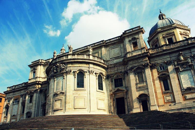 Фронт исторической церков Santa Maria Maggiore di Papale базилики в Риме стоковое изображение