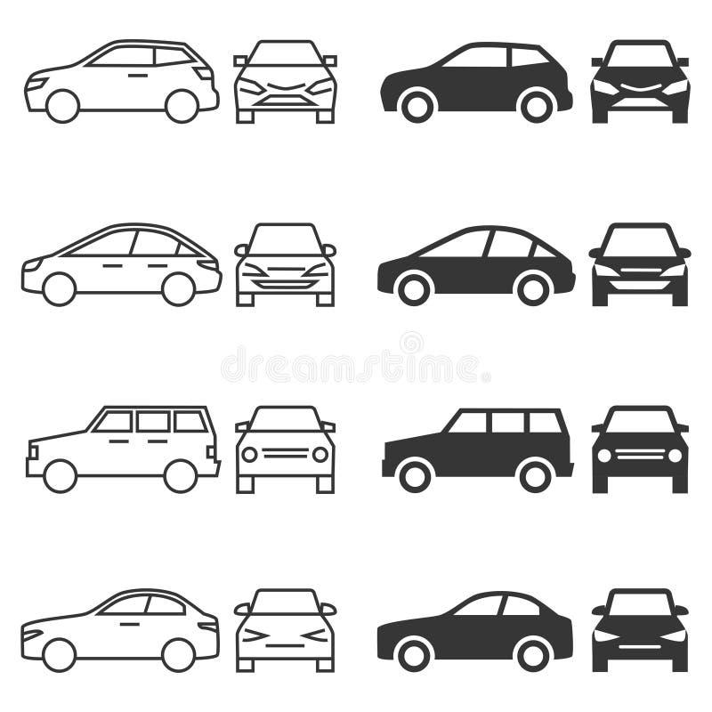 Фронт и бортовые автомобильные автомобили линии и силуэта изолированные на белой предпосылке бесплатная иллюстрация
