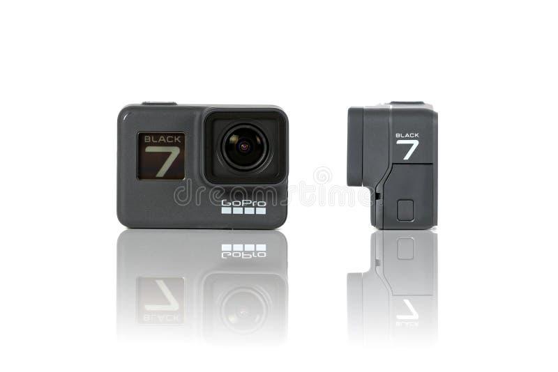 Фронт и взгляд со стороны продукта ГЕРОЯ 7 GoPro черные стоковые изображения rf