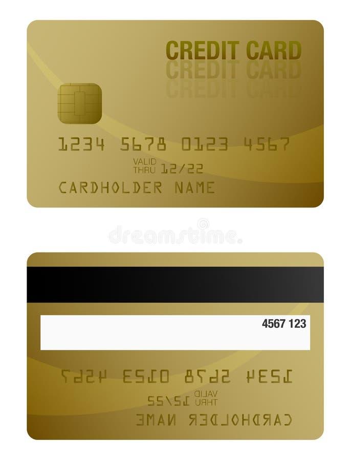 Фронт и задняя часть покрашенного золотом шаблона кредитной карточки иллюстрация штока