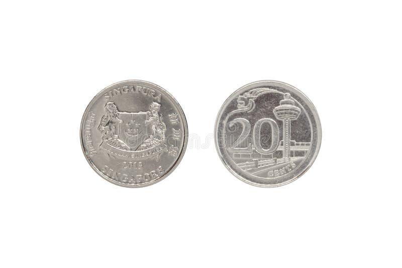 Фронт и задняя часть Сингапура чеканят цент 20 стоковые изображения rf