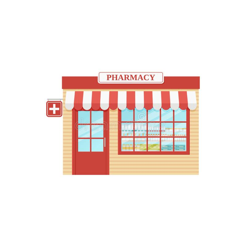 Фронт магазина фармации также вектор иллюстрации притяжки corel Аптека, внешняя витрина магазина иллюстрация штока