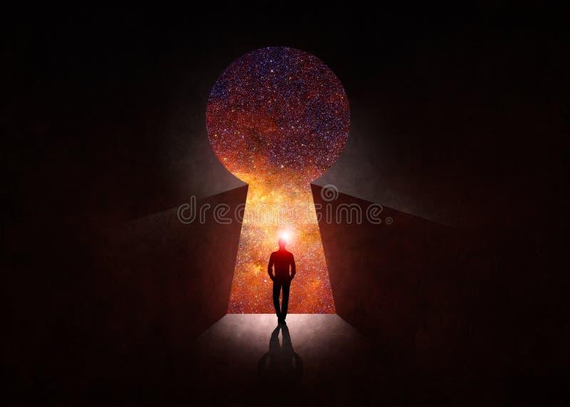 Фронт открыть двери с вселенной позади бесплатная иллюстрация