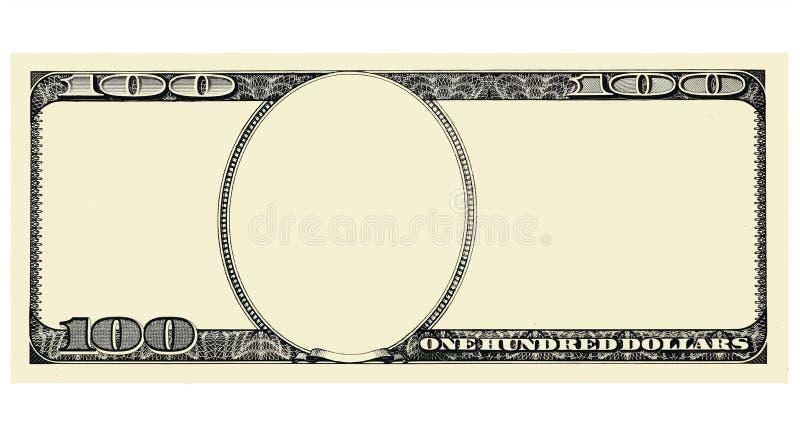 Фронт 100 долларовых банкнот при copyspace, изолированное для дизайна иллюстрация штока