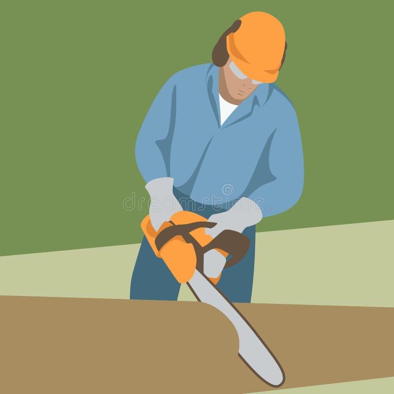 Фронт стиля иллюстрации вектора работника цепной пилы плоский иллюстрация штока
