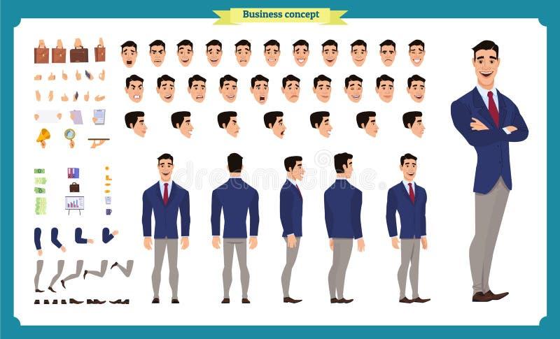 Фронт, сторона, задний взгляд одушевил характер Творение характера менеджера установило с различными взглядами, стилями причесок, иллюстрация штока