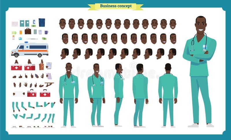 Фронт, сторона, задний взгляд одушевил черный американский характер Творение характера доктора установило с различными взглядами, стоковое изображение rf