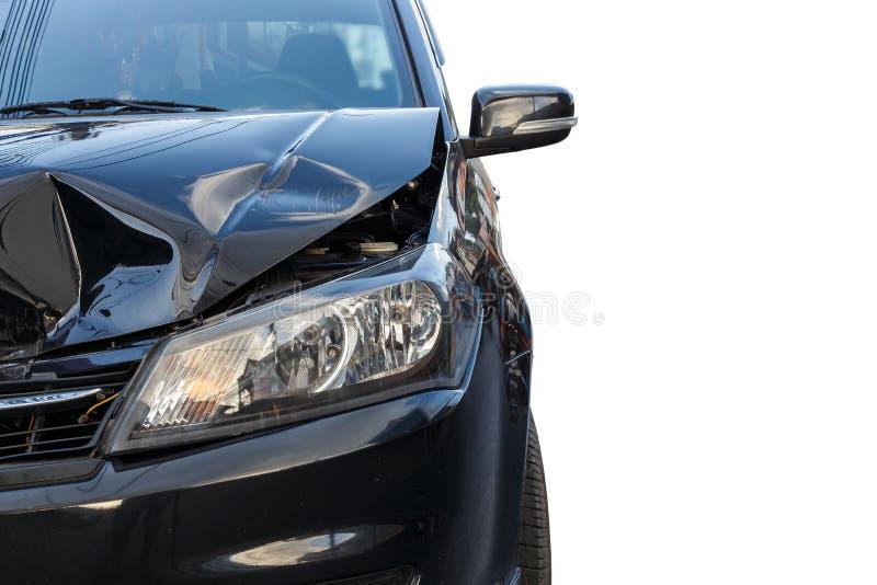 Фронт черного автомобиля получает поврежденным случайно стоковое фото