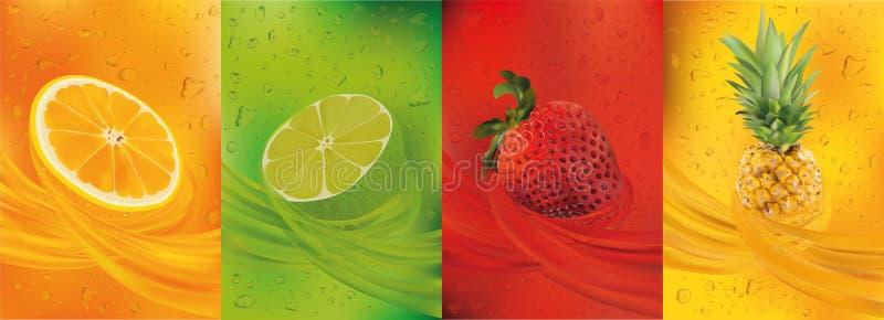 Фруктовый сок, ананас, известка, апельсин, клубника свежие фрукты 3d Плод брызгает близкую вверх r иллюстрация штока