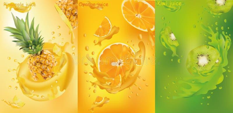 Фруктовый сок, ананас, киви, апельсин Свежие фрукты Плод брызгает близкую вверх Векторные графики иллюстрация вектора