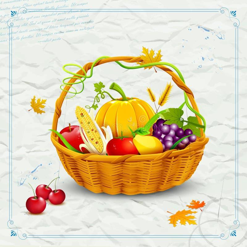 Фрукты и овощи в корзине на благодарение иллюстрация штока