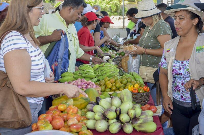 Фрукты и овощи людей покупая стоковое изображение rf