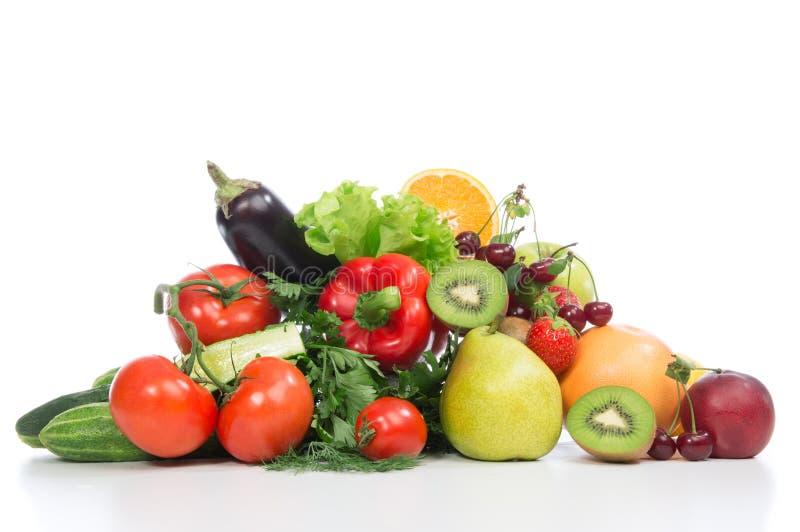Фрукты и овощи принципиальной схемы завтрака потери веса диеты стоковые фото