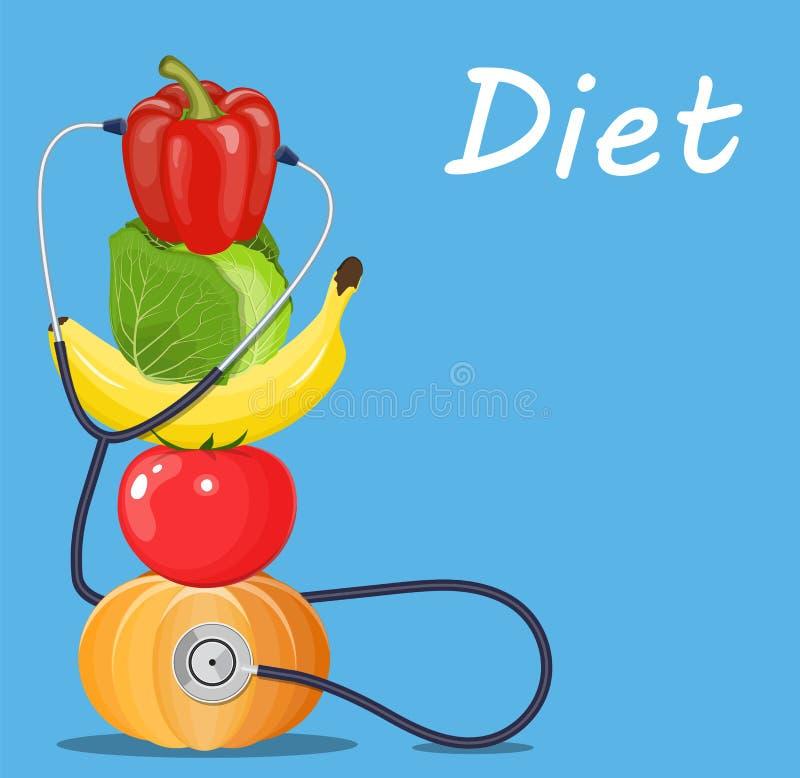 Фрукты и овощи с стетоскопом бесплатная иллюстрация