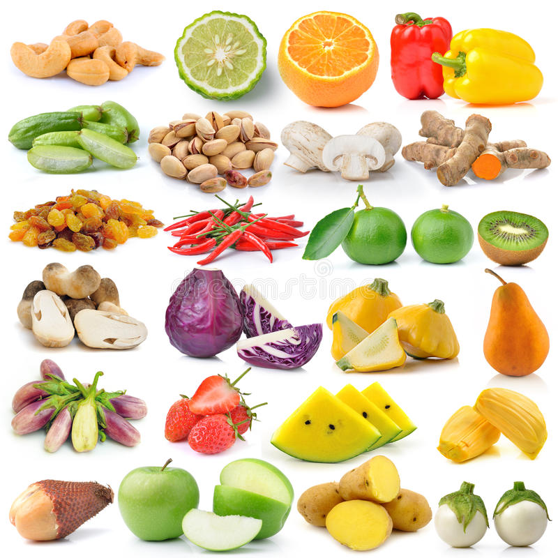 Фрукт и овощ на белой предпосылке стоковые фотографии rf