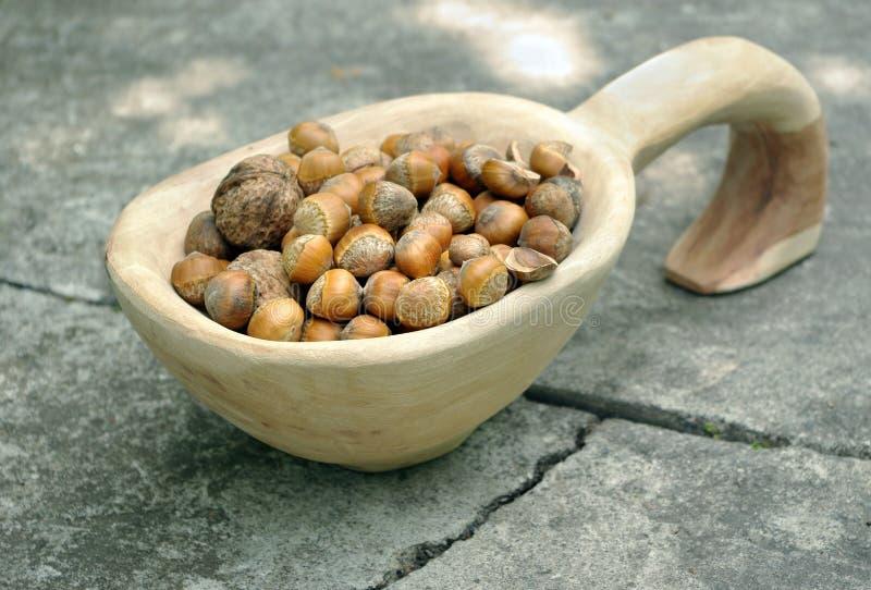 Фундук и грецкий орех сбора гайки в деревянном шаре handmade деревянная ваза стоковая фотография rf