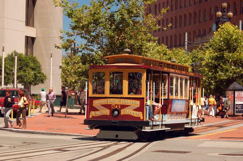 Фуникулер Сан-Франциско на улице Калифорния стоковое фото