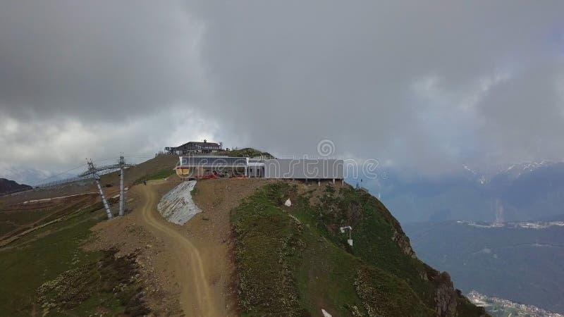 Фуникулярная станция pic roza, максимум в горах caucasus России стоковое фото rf