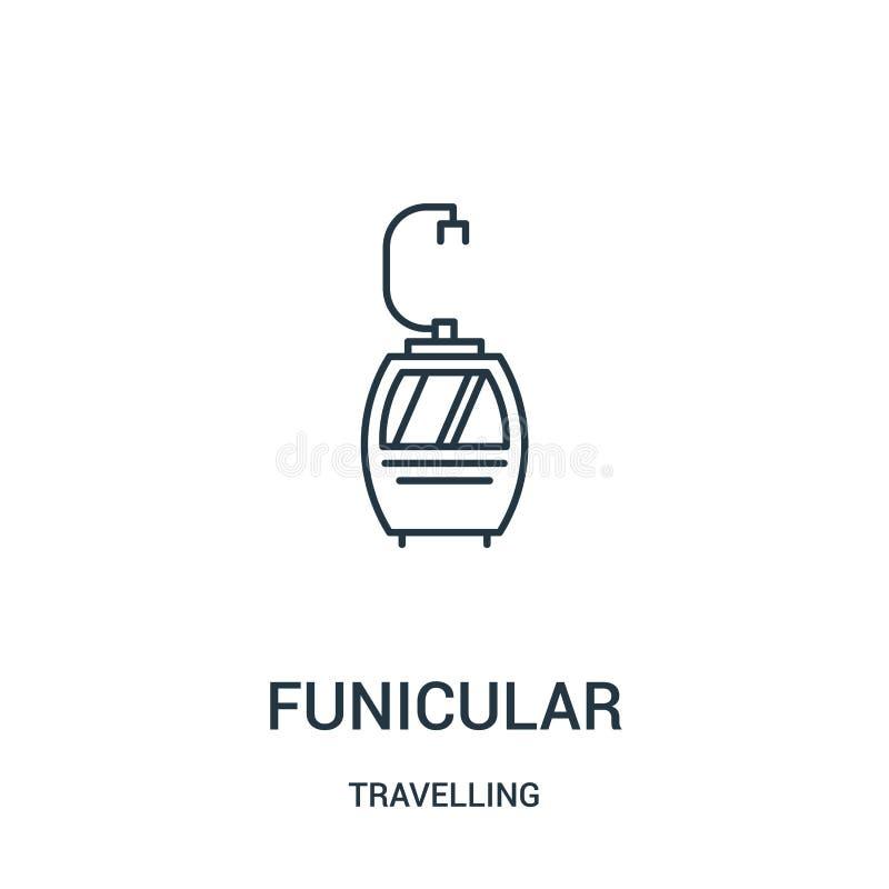 фуникулярный вектор значка от путешествовать собрание Тонкая линия фуникулярная иллюстрация вектора значка плана r иллюстрация вектора