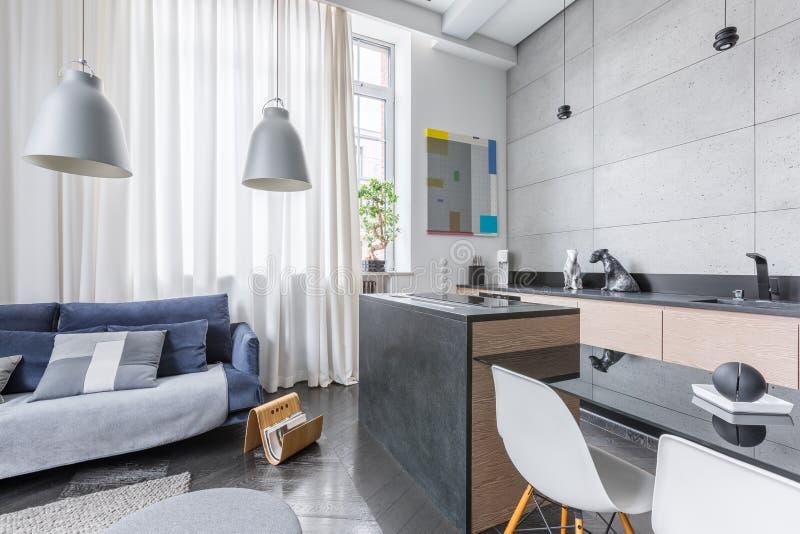 Функциональный интерьер просторной квартиры стоковое изображение