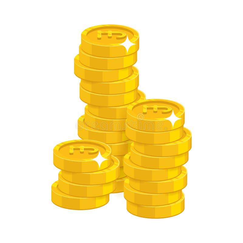 Фунты золота стога изолировали шарж иллюстрация вектора