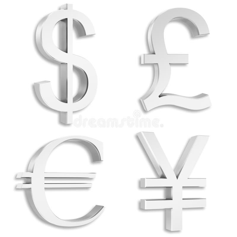 фунт евро доллара подписывает серебряный yuan иллюстрация штока