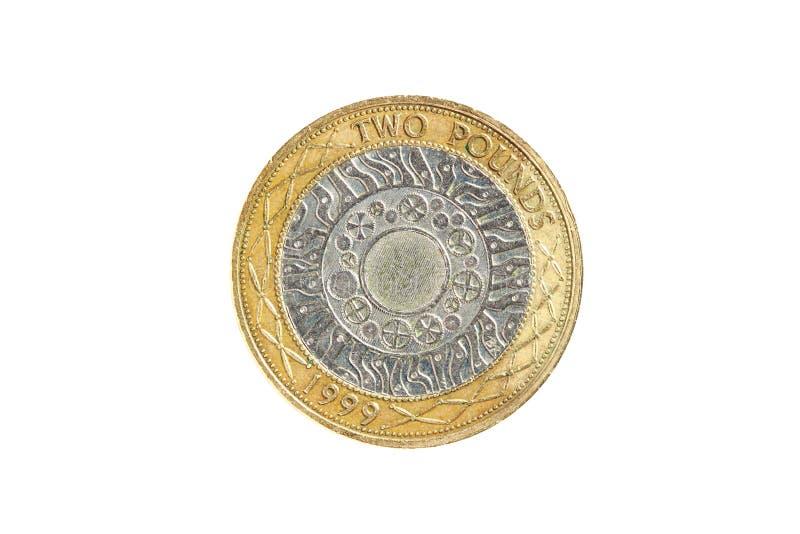 фунт 2 монетки стоковое изображение