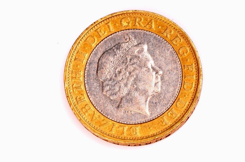 фунт 2 монетки стоковые изображения rf