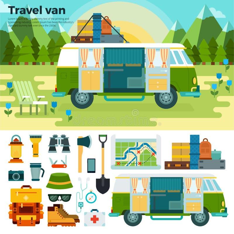 Фургон перемещения в лесе около гор иллюстрация вектора
