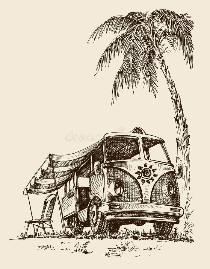 Фургон прибоя на пляже иллюстрация вектора