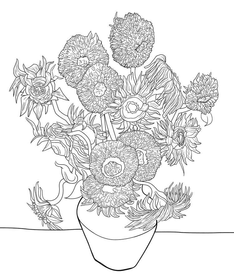 фургон солнцецвета эскиза gogh бесплатная иллюстрация