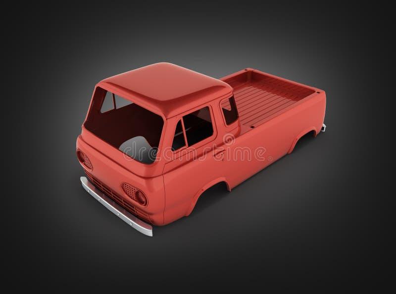 Фургон тела без колеса на черной предпосылке 3d градиента стоковое изображение rf