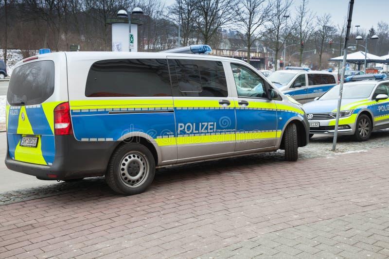 Фургон Vito Benz Мерседес, современная немецкая полицейская машина стоковые фото
