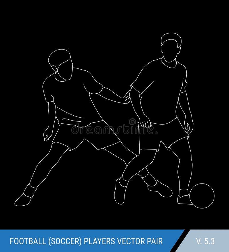Футболисты воюя для шарика Силуэты плана, иллюстрация вектора Футболисты в действии иллюстрация вектора