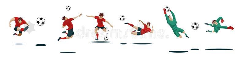 Футболисты пиная шарик и голкиперы Установите собрание различных представлений иллюстрация вектора