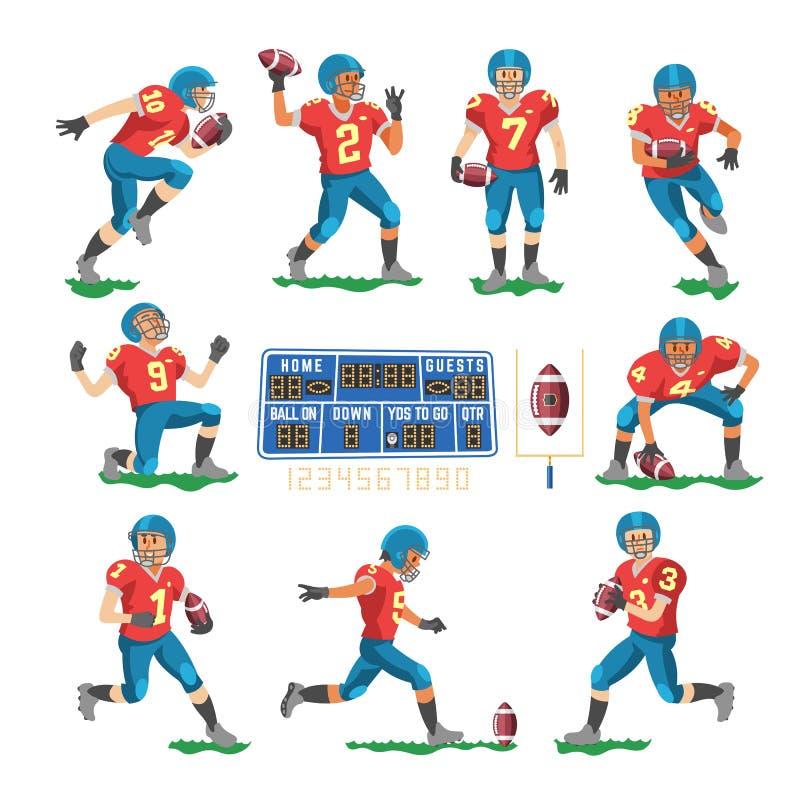 Футболист вектора футбола или характер soccerplayer в sportswear играя с soccerball на иллюстрации футбольного поля иллюстрация штока