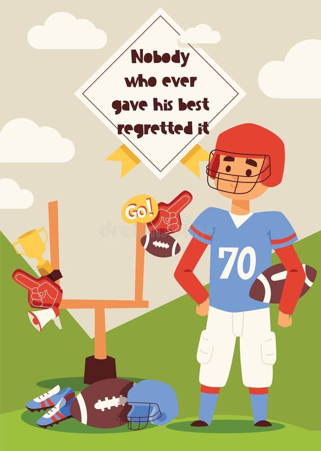 Футболист вектора футбола или характер soccerplayer в sportswear с soccerball на фоне иллюстрации футбольного поля иллюстрация штока
